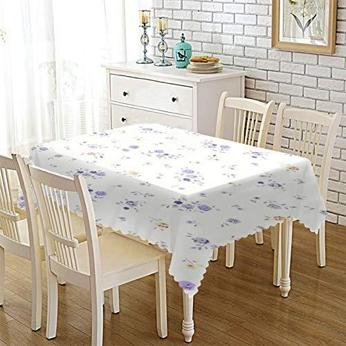 Epinki Mantel Poliester Mantel de Tela Flores Blanco Púrpura Ideal para Mesa Buffet, Fiestas Tamaño 140x200CM