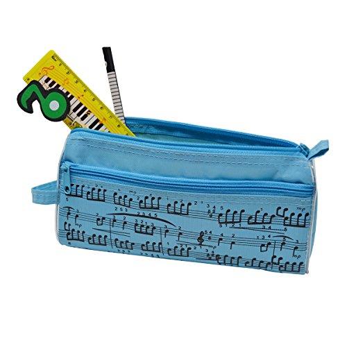 Estuche para lápices de notas musicales, impermeable, tela Oxford, portátil, bolsa de papelería con cristal capacitivo, color azul
