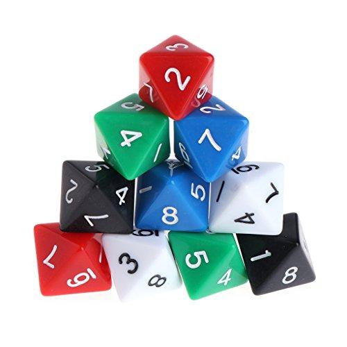 Exing Dados Poliedricos,10 Piezas Juego De Mesa DND De Acrílico De 8 Lados Dungeons & Dragons