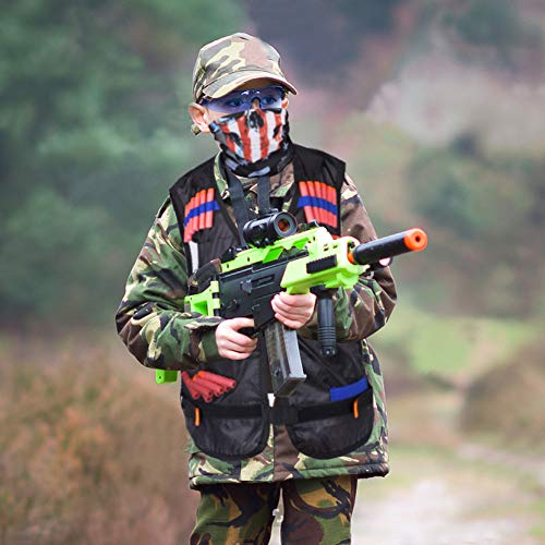 EXTSUD Chaleco Táctico Niños Elite Tactical Chaleco para N-Strike Elite Series con 80 Piezas de Recarga de Dardos, 2 Clips de Recarga, 2 Máscaras Tácticas, 2 Muñequeras y 2 Gafas Protectoras