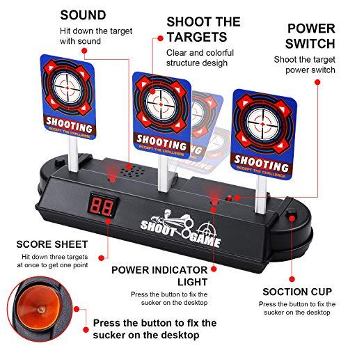 EXTSUD Nerf Objetivo Electrónico para Pistolas Nerf con 60 Dardos y 2 Pulseras, Restablecimiento Automático , Apto para Nerf N-Strike Elite / Mega / Rival Series