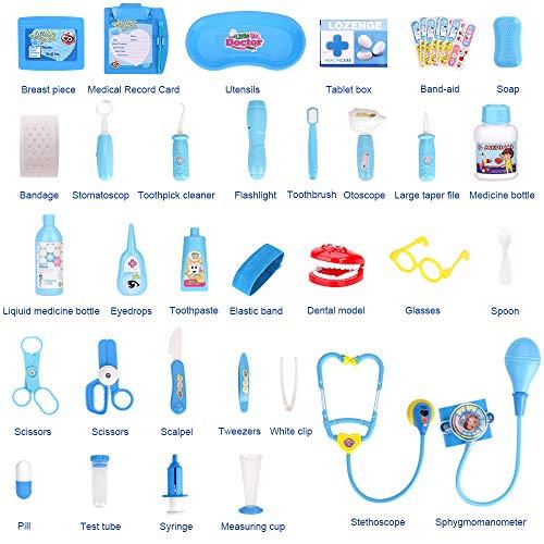 Fabur 47 Piezas Maletín de Médico de Juguete, Juego de rol Médico Dentista Enfermera Kit Clínica Dental Juego para Niños Fingir Juego Herramientas Juguete Set Regalos para Niños (Azul)