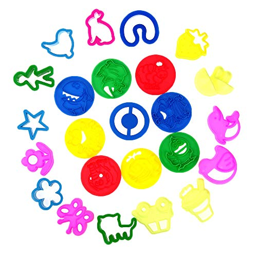 Fabur 57 Piezas Kit de Herramientas de Plastilina Inteligentes, Arcilla Plastilina Herramientas de Modelado con Moldes y Cortadores, Accesorios de Plástico para Masa para niños, Colores Aleatorios