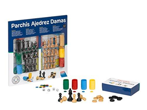 Falomir Tablero de Parchís, Ajedrez y Damas con Accesorios 33cm, Juego de Mesa, Clásicos, 33 cm (27914)