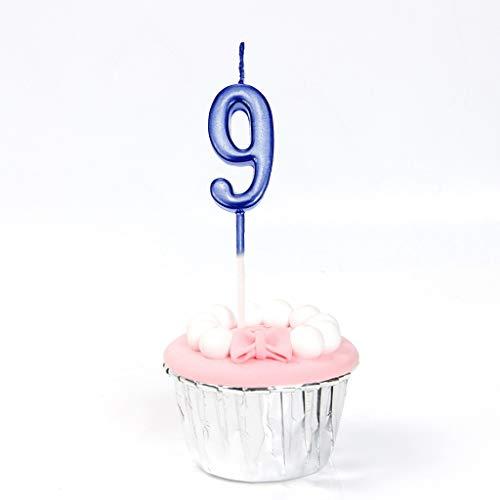 Feelairy 10 Piezas Números de Velas de Pastel Cumpleaños, Número de Velas Número de Velas Vela 0-9 Topper Pastel de Brillo Feliz Cumpleaños Topper de Pastel para Fiesta Pastel Cumpleaños (Azul)