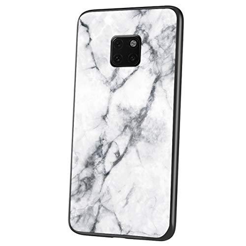 Felfy Vidrio Templado Hard Back Cover Compatible con Huawei Mate 20 Pro Rígida Silicona Case,Compatible con Mate 20 Pro Funda Mármol Creativa Diseño Brillante Cover de TPU Hard Slim Case.Blanco