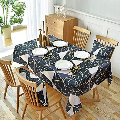 Figuras geométricas Negras Cubierta de Mesa Rectangular para decoración del hogar/Regalo de inauguración de la casa/Navidad/Fiesta/Decoración de Boda Varios tamaños