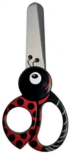 Fiskars Tijeras de animales para niños con motivos de mariquitas, A partir de 4 años, Longitud: 13 cm, para diestros y zurdos, Hoja de acero inoxidable/Mangos de plástico, Rojo, 1004612