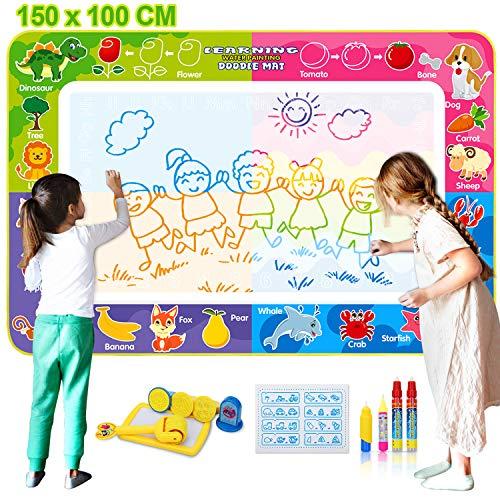 Fivejoy Agua Dibujo Pintura, 150 x 100 cm Agua Doodle, Dibujo Agua Niños con 4 Bolígrafos Mágicos, 4 Sellos de Dibujos Animados, 1 Rodillo de Dibujos Animados, 1 Almohadillas de Tinta, 1 Folleto