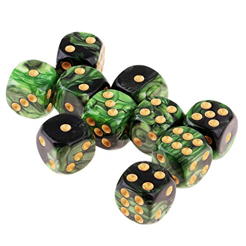 FLAMEER D6 Dados de Seis Caras para Juegos 16mm Dice Set de 10pcs - Verde + Negro
