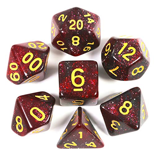 FLASHOWL Dados poliédricos Dados DND Dados de Cielo Estrellado Vía láctea Juegos de Dados Juegos de Mesa Juego de Dados D20 D12 D10 D8 D6 D4 DND RPG MTG Dados Dados de Juego (7 Piezas Rojo Negro)