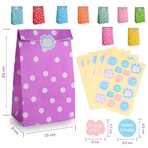 FORMIZON 40 Pcs Bolsas Regalo Papel, 10 Colores Patrón Puntos con Adhesivos Sellado para Niños Suministros Fiesta de Cumpleaños, Suministros Banquetes de Boda