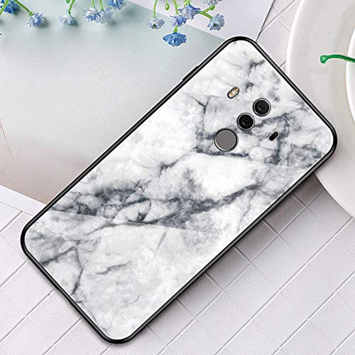 Funda Compatible con Huawei Mate 10 Pro Carcasas Cristal Vidrio Templado Glass Case Mármol Duro Carcasa 360 Grados Marble Funda Cover PC+TPU Rígido Silicona Anti-Rasguño Anti-Golpes Bumper,Blanco