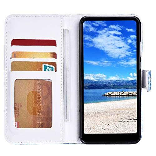 Funda Compatible con Huawei Mate 30 Pro.Cuero Case Creativo Patrón PU Carcasa Libro Flip Billetera Ranura para Tarjeta Cierre Magnético Protectora Plegable Soporte Anti-caída Bumper-Polvo Blanco