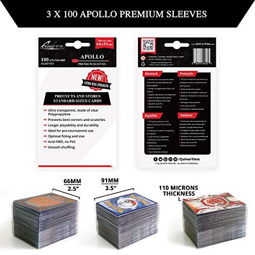 Fundas para Cartas Coleccionables (3 Paquetes x 100) 300 Fundas Transparente Apollo para Tarjetas Coleccionables y Tarjetas de Juego