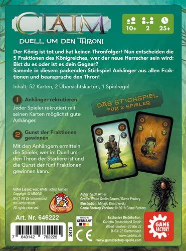 GAMEFACTORY- Claim, Das Duell um den Thron, Cartas, Juego de Puntadas, para 2 Jugadores, Color (Game Factory 646222)