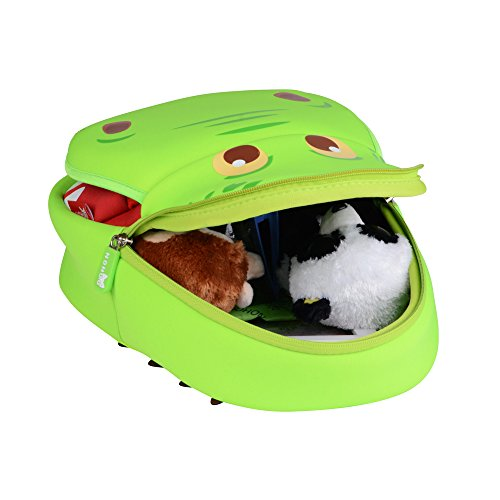 Georgie Porgy 3D Mochila Infantiles Animal Bolsas Escolares de Niños Niñas Hipopótamo Verde
