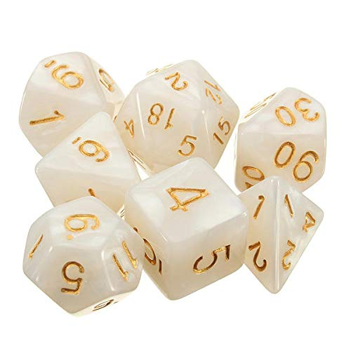 GIlH 42pcs Multi-sided Polyhedral Digital Acrylic Dice Set 6 Colors w/Carry Bag