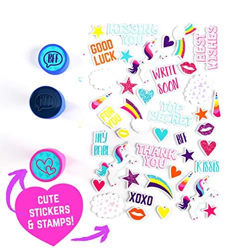 GirlZone Set de Papel de Carta Unicornio para Niñas Juego con Hojas, Tarjetas, Sobres, Bolígrafos, Goma, Pegatinas, Cinta Adhesiva y Sellos - Papeleria, Idea de Regalos, Cumpleaños, Invitaciones