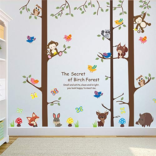 GJGFNJ Forest Tree Animals Monkey Etiqueta De La Pared Niños Dormitorio TV Fondo S Ofa Tatuajes De Pared Arte Decoración para El Hogar Cartel Mural