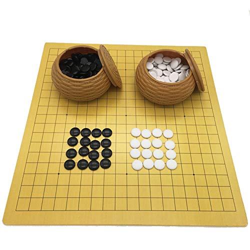 Gobus Go Chess Juego de ajedrez Juego de Tablero de ajedrez de Cuero con Piedras de plástico en latas imitación de Paja Juegos de Viaje para los Jugadores de ajedrez ( 18.9 x 19.3 Pulgadas )