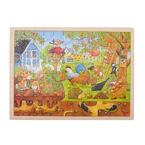 Goki- Puzzles de maderaPuzzles de maderaGOKIPuzzle, Nuestro jardín-sobre y bajo Tierra, Multicolor (1)