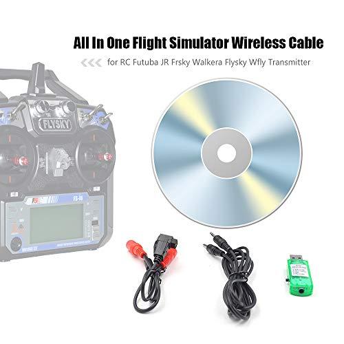 Goolsky Todo en uno RC Simulador de Vuelo Cable inalámbrico para Futaba JR Frsky Walkera Flysky Wfly RC Transmisor