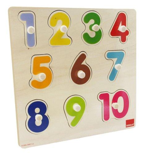 Goula- Numbers Puzzle encajes madera números Goula28x28 (Diset 53074) , color/modelo surtido