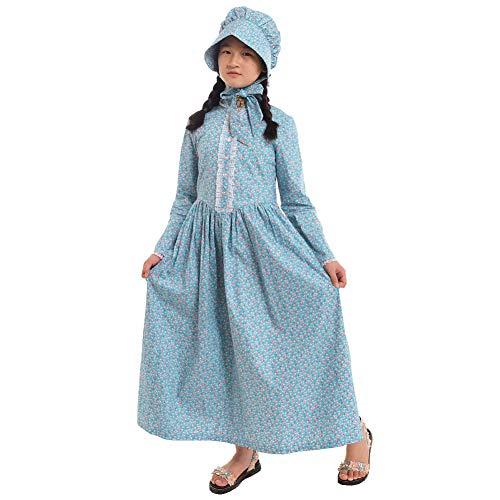 GRACEART Recreación Pionero Pradera Colonial Niña Disfraz (US Size-06, Azul)