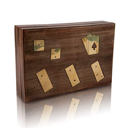 Great Gift Ideas Wooden Playing Card Box With 5 Dice & 28 Dominoes Tiles Game Set Deck Pack Case Holder Storage Accessories Organizer With Playing Cards Classic Fun Educational Numbers Math Table Game
