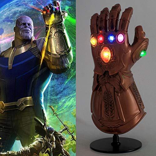 Guante de los Vengadores con Luces led, Guantele Thanos Vengadores 4 Final del Juego Iron Man Infinity Gauntlet Hulk Thanos Capitán América Thor Cosplay con 2 pilas recambio