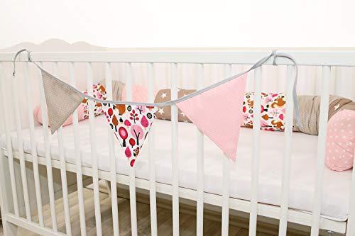 Guirnalda de banderines de ULLENBOOM ® con beige ardilla (guirnalda de tela: 1,00 m; 3 banderines; decoración para la habitación de los niños; fiestas de bienvenida para bebés)