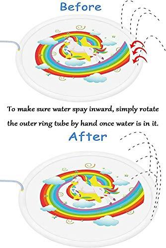 GZP Splash Play Mat, Sprinkle Water Play Mat Outdoor Sprinkler 170Cm Juguetes De Agua para Niños Juguetes De Riego De Verano Jardín Infantil/Infantil Actividades Al Aire Libre para La Familia,Blanco