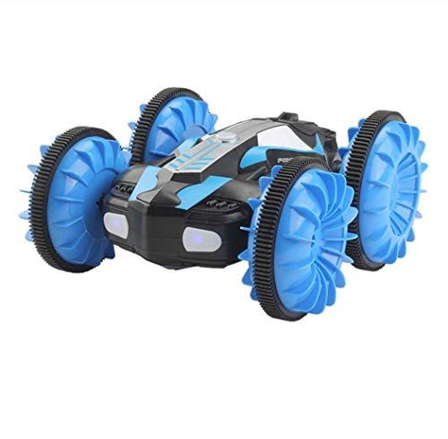 HAHALE Agua y la Tierra RC Car Agentes anfibias 360 Girar Control Remoto Noche Stunt Coche eléctrico de luz LED RC Robot de Coches para los niños-Azul