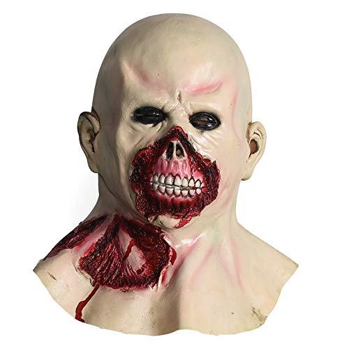 Happy Home Products Boca De Sangre Y Máscara De Látex Zombie Calvo/Disfraz De Halloween De Terror/Maquillaje para Adultos/Accesorios De La Casa Encantada/Juegos De rol