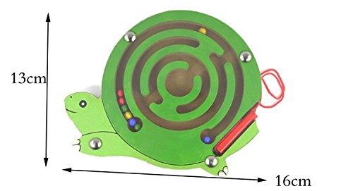 HappyToy Animal Mini Madera Varita magnética Redonda Número Laberinto Laberinto Interactivo Granos imán Laberinto a Bordo del Juego Tráfico de la Ciudad Eduactional Handcraft Toys ( Tortuga )