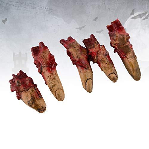 HEALLILY la Sangre de Halloween apoyos de los Dedos Cortados de Miedo Falsos Rotos Partes del Cuerpo para la casa encantada de Halloween Decoraciones Vampiro Zombi Fuentes del Partido 5 Piezas