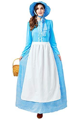 helymore Mujer Halloween Disfraz de Pionero Colonial Talla Extra Vestido de Criada Victoriana Conjunto Completo, XXL