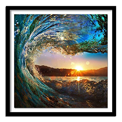 hetingyue DIY Pintar por números Pintura Digital para Adultos Paisaje Puesta de Sol Ola de mar con Pincel y Pintura acrílica Pintura sin Marco 40X40cm