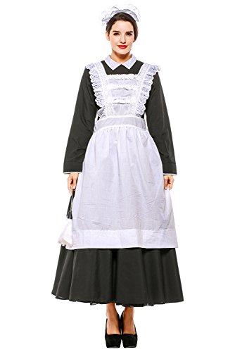 icewalker Mujer Halloween Disfraz de Pionero Colonial Vestido de Criada Victoriana Conjunto,XXL