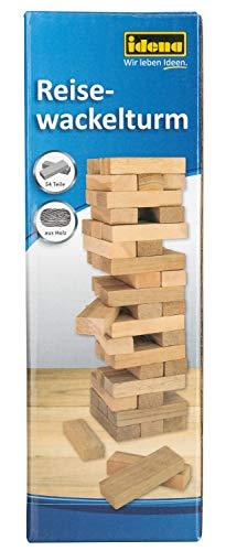 Idena 40206 - Juego de Viaje con Torre de Torre, Juego de Habilidad con 54 Bloques de Madera, Aprox. 4,8 x 4,8 x 14,4 cm, Color marrón Claro.