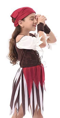 IKALI Disfraz Pirata Niños, Niña Rustic Maiden Bucanero Vestido, Falda Rover mar del Caribe 7-8años