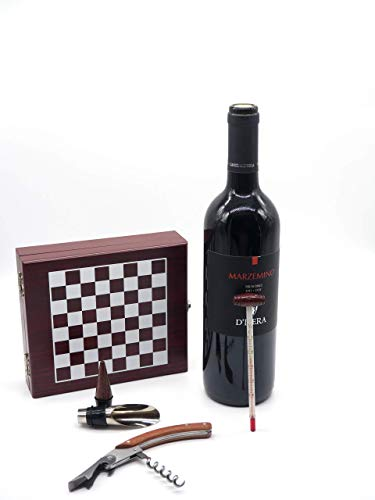InnovaGoods Set de Accesorios para Vino y Ajedrez, Madera y Acero Inoxidable, Marrón, 15x5x17 cm