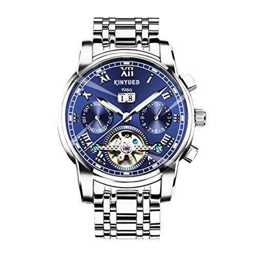 IPOTCH Reloj De Pulsera Mecánico Automático De Negocios KINYUED para Hombres, Cronógrafo con Calendario - Azul