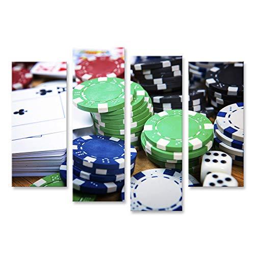 islandburner Cuadro en Lienzo Concepto de Fondo de Las Cartas de póquer y Las fichas de Juego Cuadros Modernos Decoracion Impresión Salon