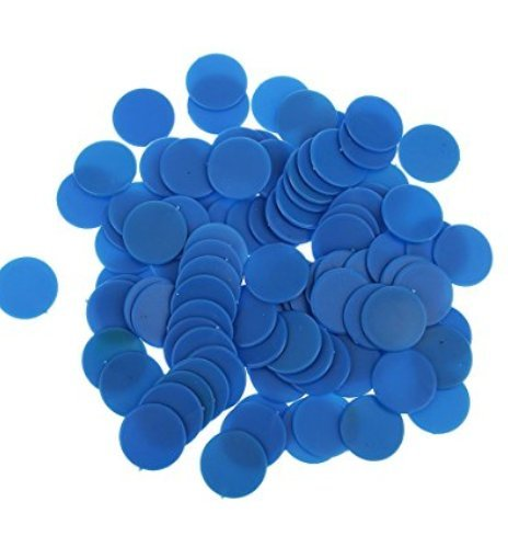 Isuper 19mm Fichas de póker Póquer Chips,Contadores de Juego de Paneles de plástico Opaco parpadean Numerology enseñanza 100pcs Azul