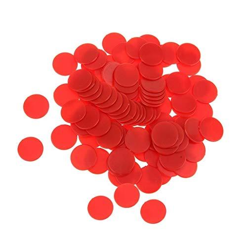 Isuper 19mm Fichas de póker Póquer Chips,Contadores de Juego de Paneles de plástico Opaco parpadean Numerology enseñanza 100pcs Verde