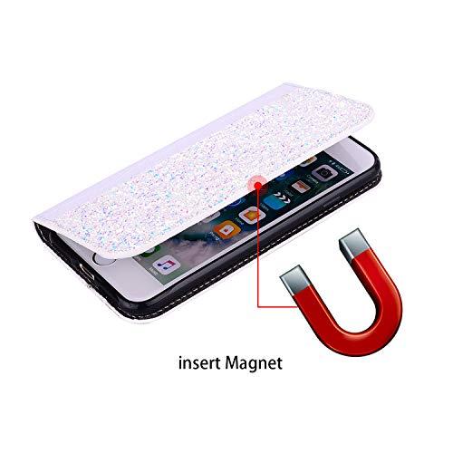 JAWSEU Compatible con Huawei Mate 10 Pro Brillante Bling Carcasa, Glitter Brillo PU Cuero Libro Billetera Tapa Plegable Protectora Funda con Función de Soporte Ranura para Tarjetas Cubierta,Blanco