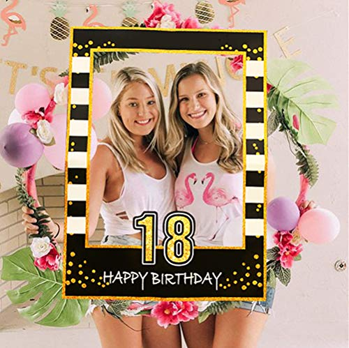 JeVenis Black Gold 18th Birthday Party Photo Booth Atrezzo 18th Birthday Photo Frame Birthday Photo Frame