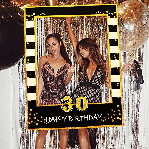 JeVenis Black Gold 30th Birthday Party Photo Booth Props 30th Birthday Photo Frame Marco de fotos de cumpleaños